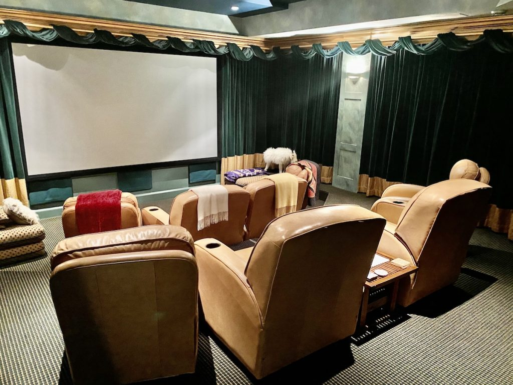cozy Maine home theater